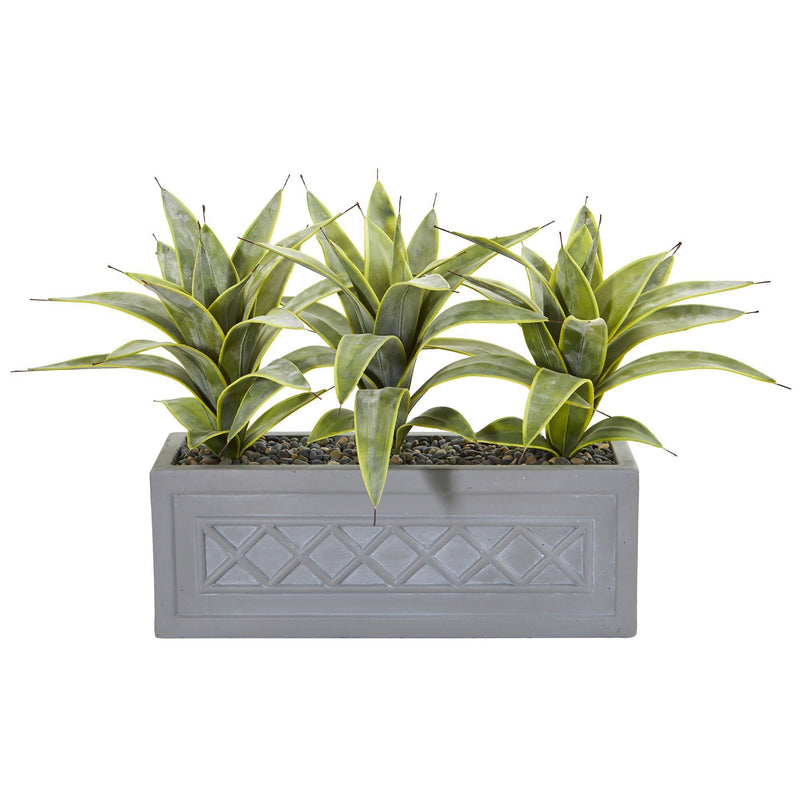 Sansevieria Artificial Plant in Stone Planter