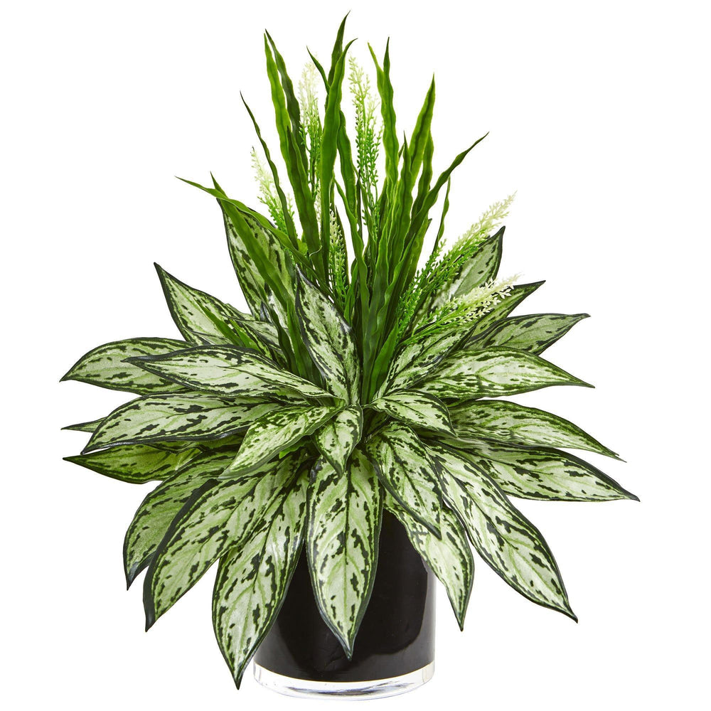 Silver Queen and Grass Artificial Plant in Black Vase