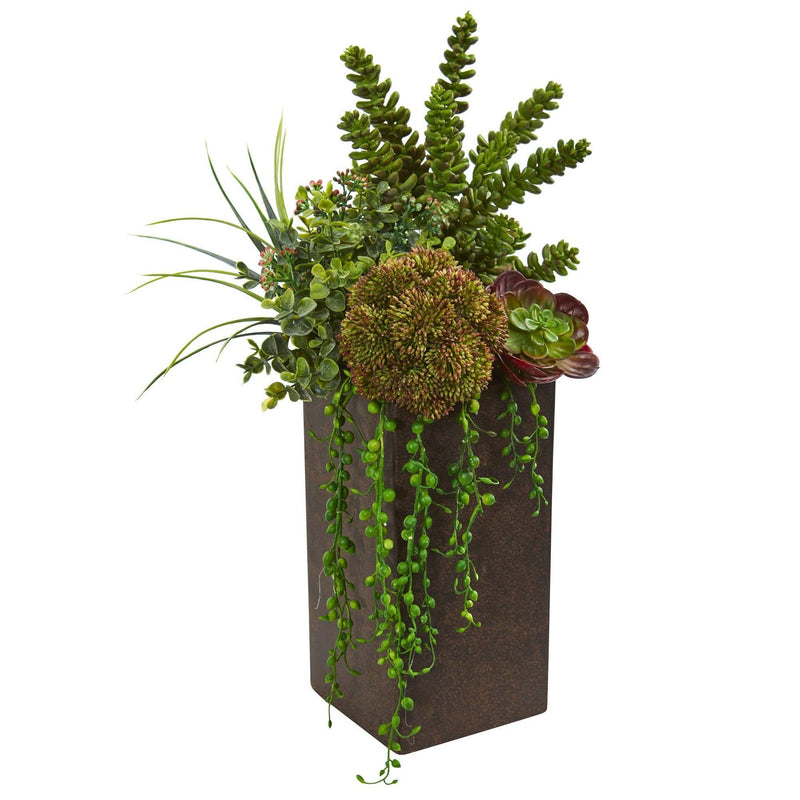 Succulent Artificial Plant in Brown Planter