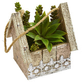 Succulent Garden Artificial Plant in Birdhouse Hanging Planter