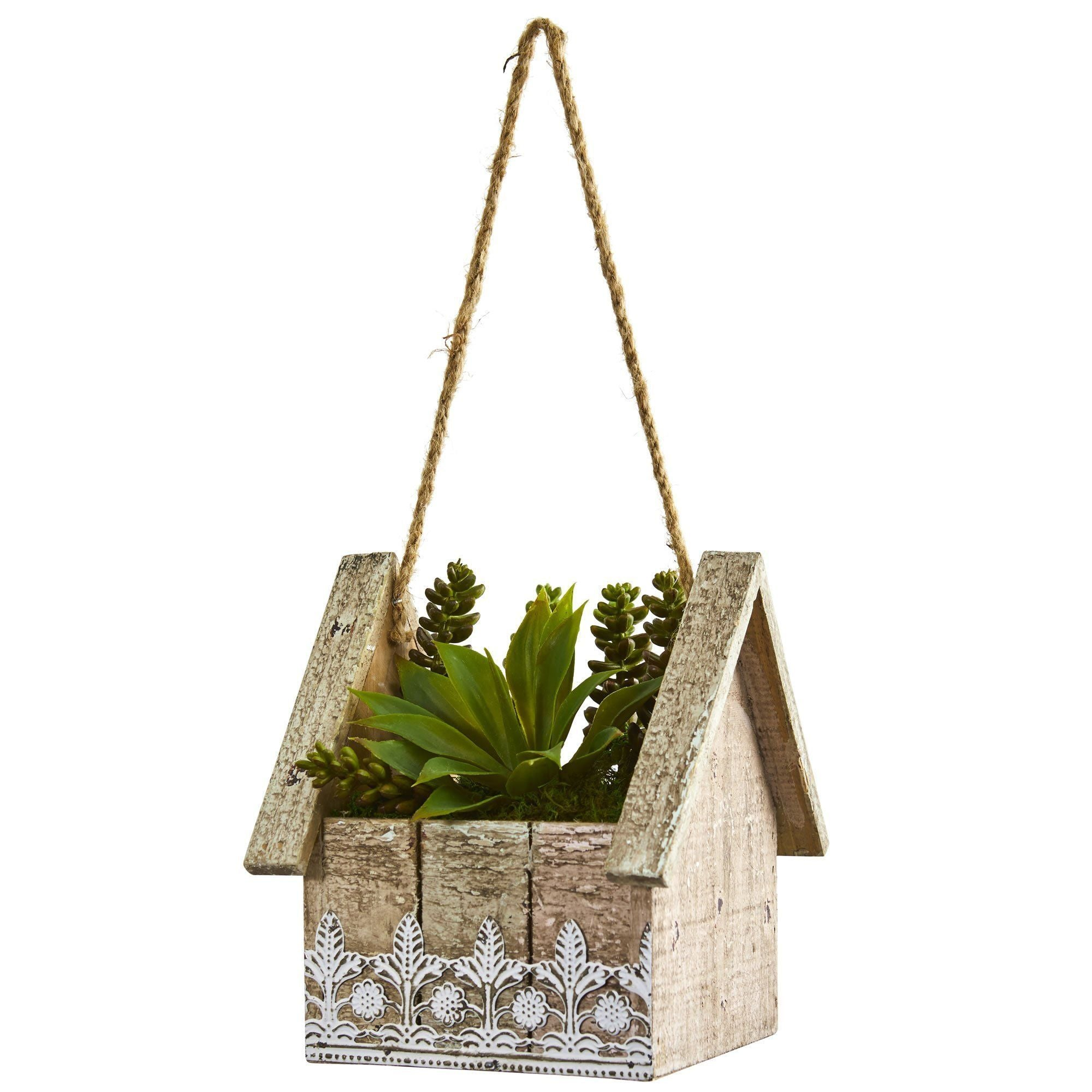 Succulent Garden Artificial Plant In Birdhouse Hanging Planter Nearly Natural