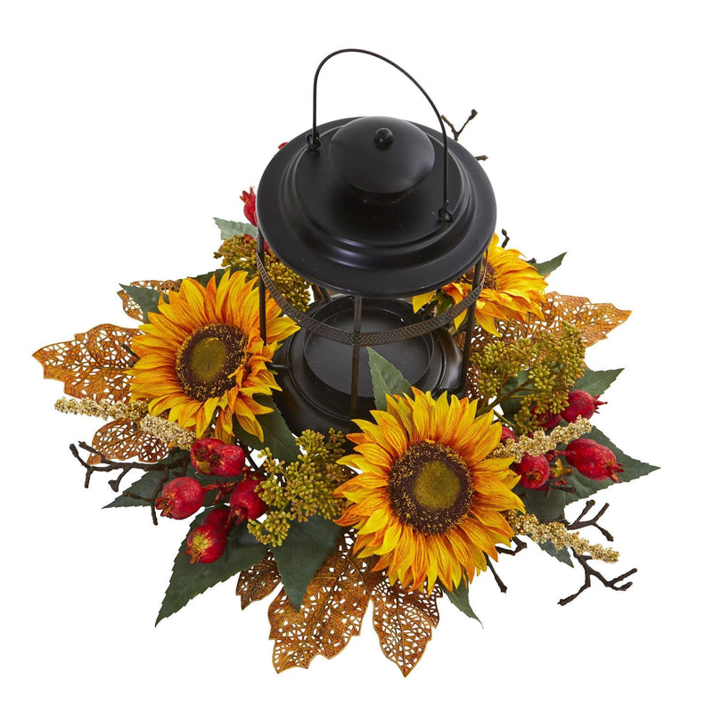 Sunflower Berry Artificial Arrangement Candelabrum