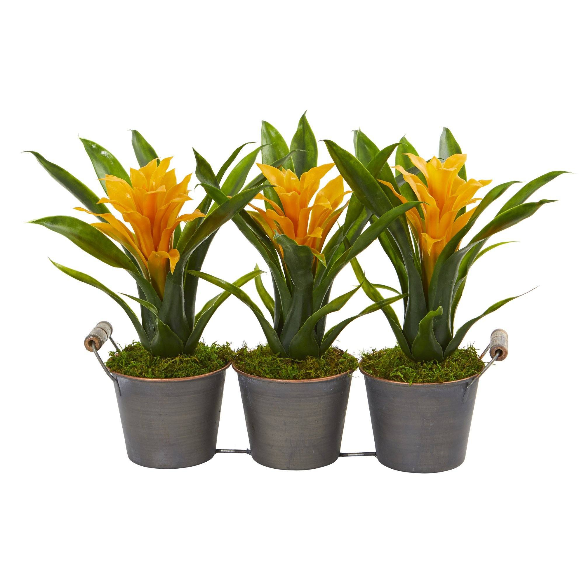 Triple Potted Bromeliad Artificial Plant In Decorative Planter 8614 Nearly Natural