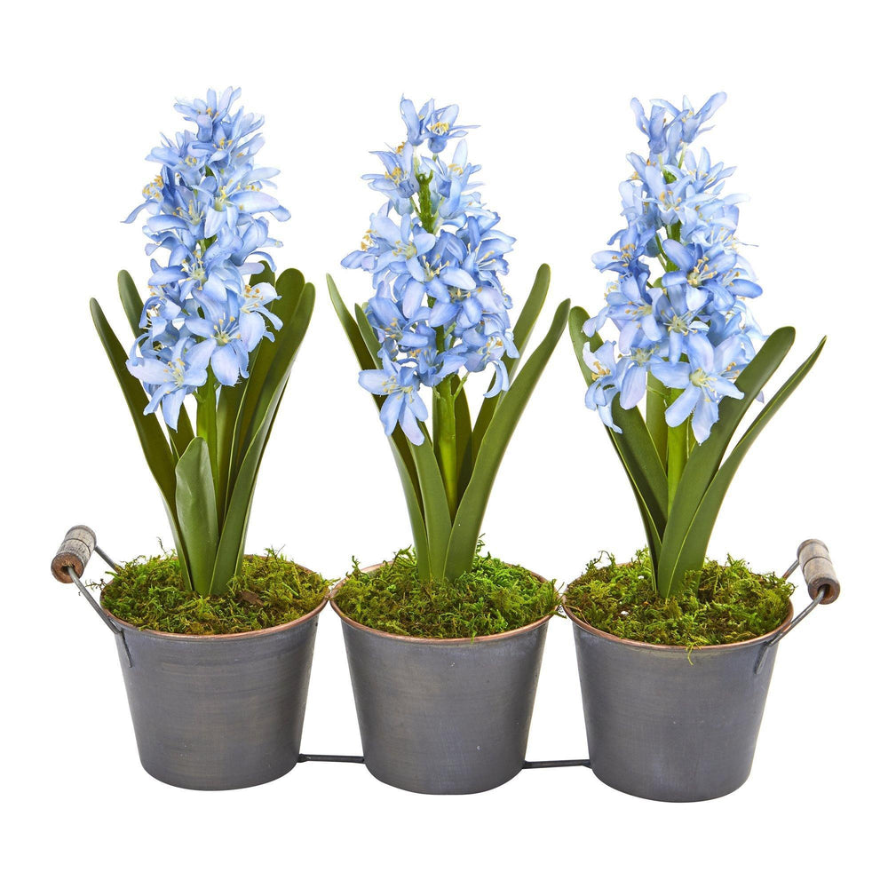 Triple Potted Hyacinth Artificial Plant