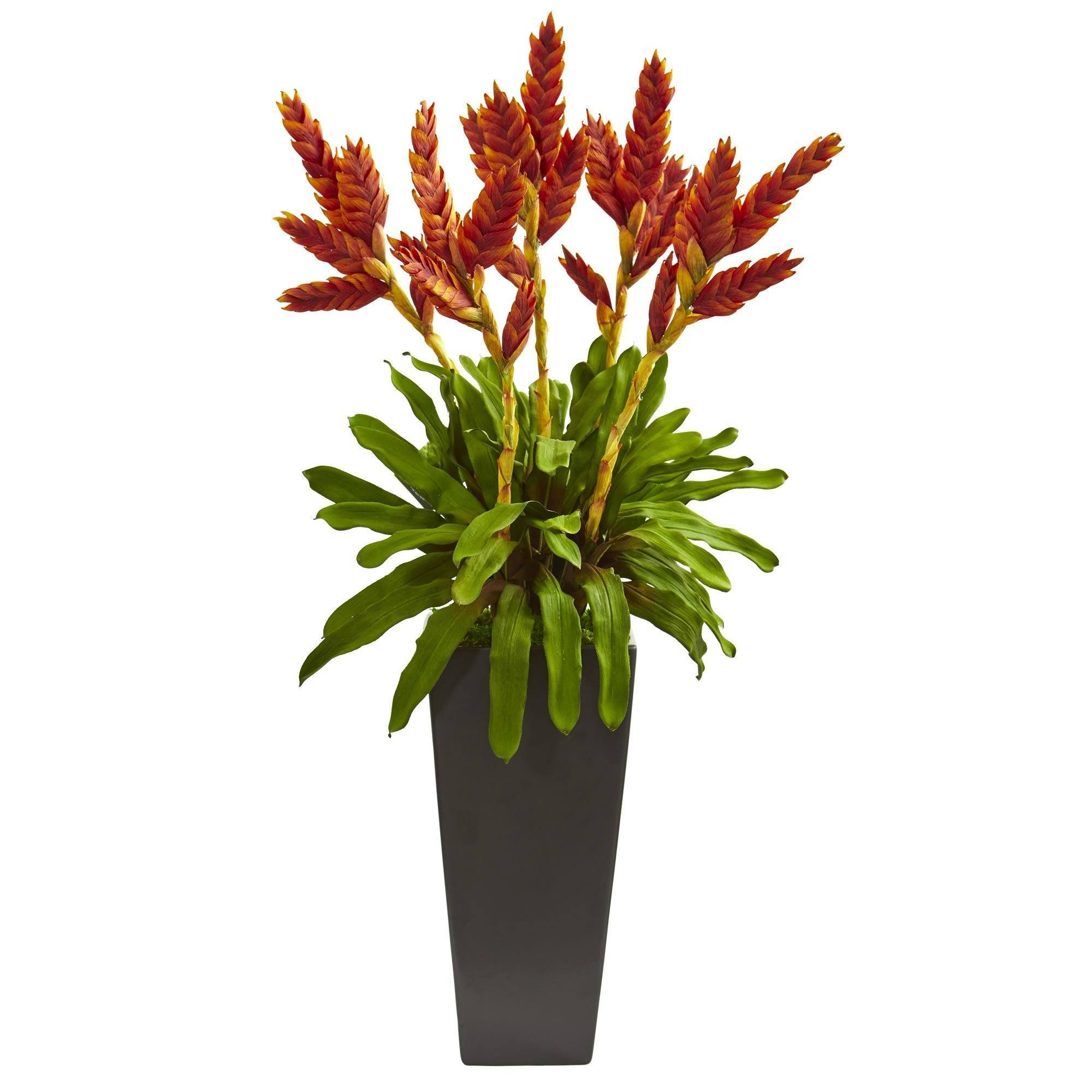 Tropical Bromeliad Artificial Plant In Black Vase Nearly Natural