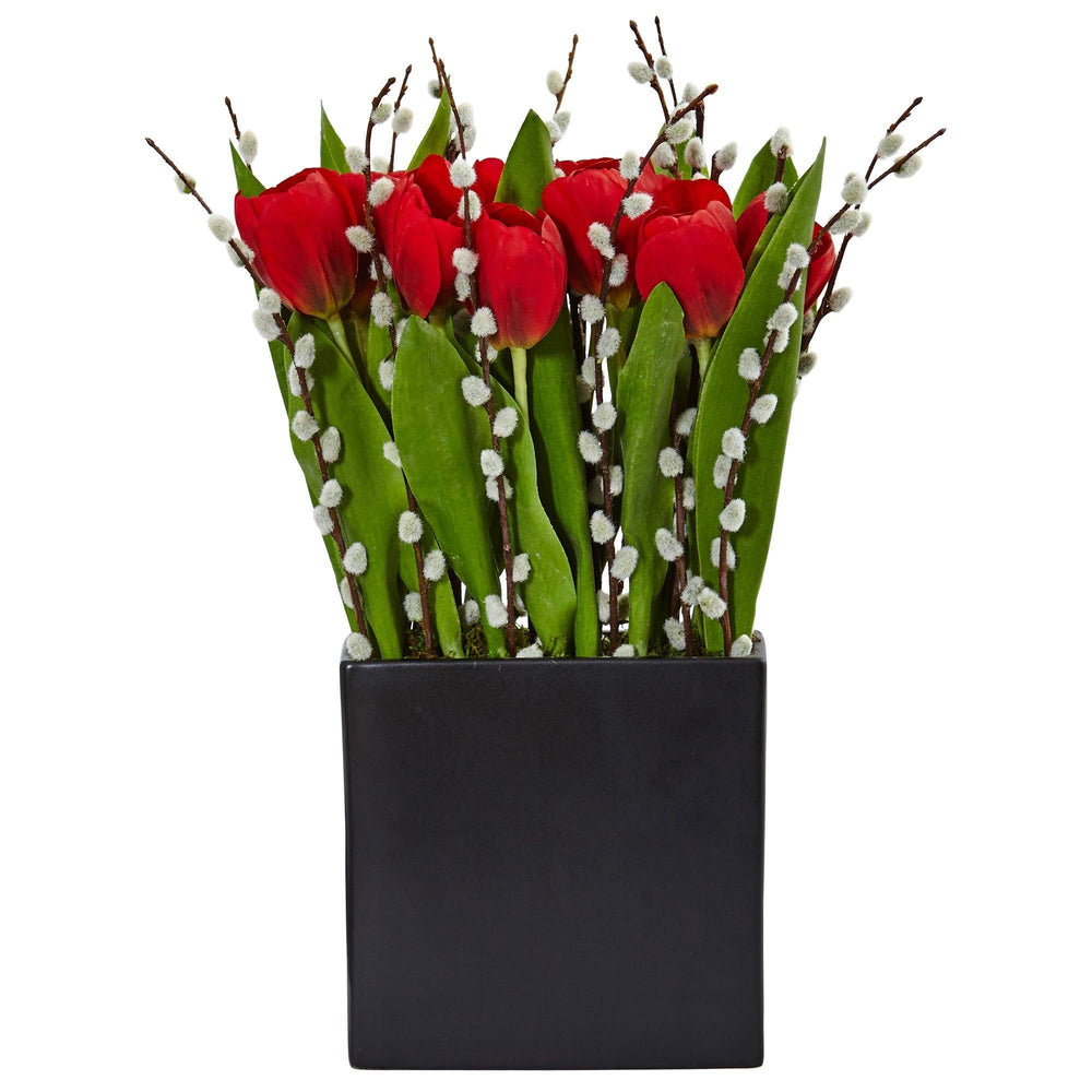 Tulips and Willow in Black Square Vase