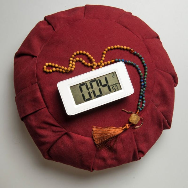 Awake Meditation Timer with mala beads and meditation cushion