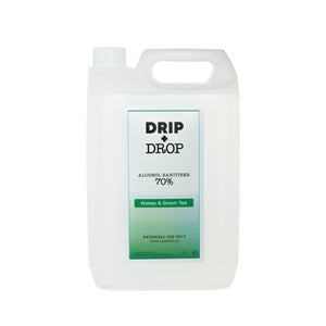 DRIP+DROP 70%ABV Alcohol Sanitiser with British honey & extracts of green tea 5L - The British Honey Company PLC