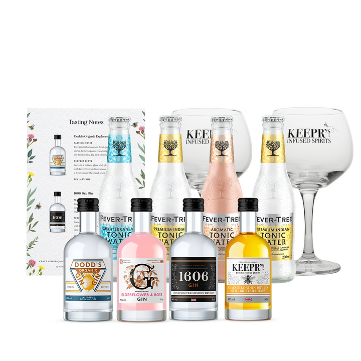 BRITISH GIN TASTING SET WITH GLASSES & FEVER-TREE MIXERS (CUSTOMISED OPTION AVAILABLE)