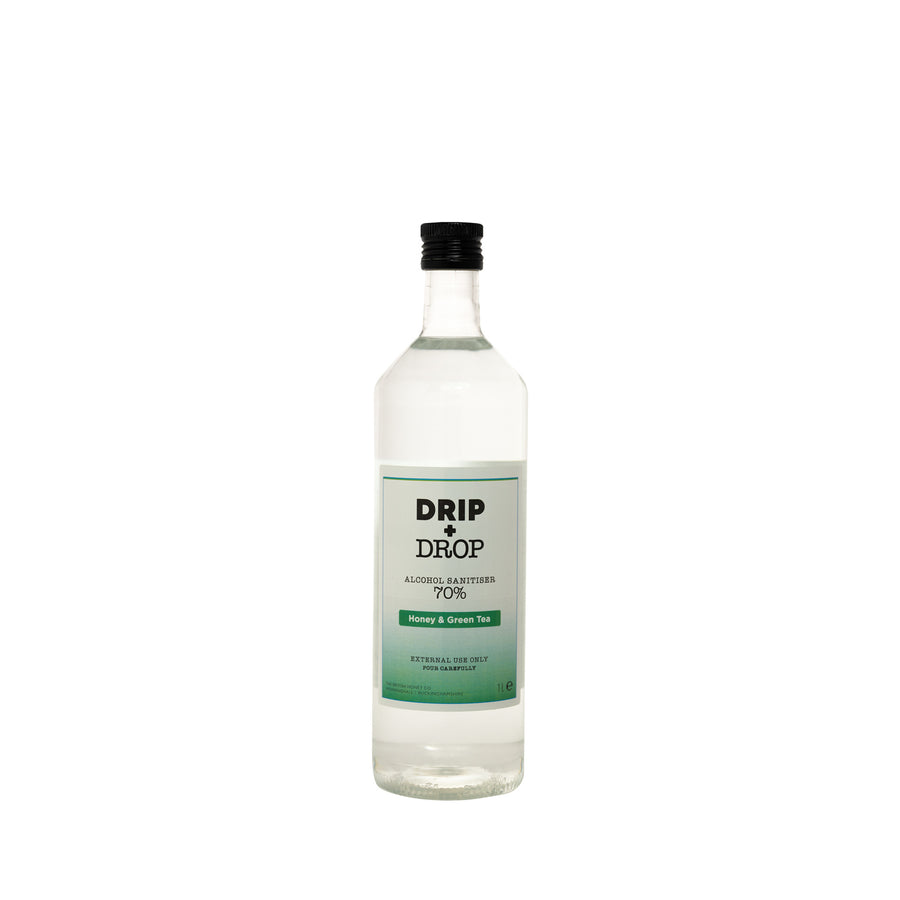 DRIP+DROP 70%ABV Alcohol Sanitiser with British honey & extracts of green tea. 1L
