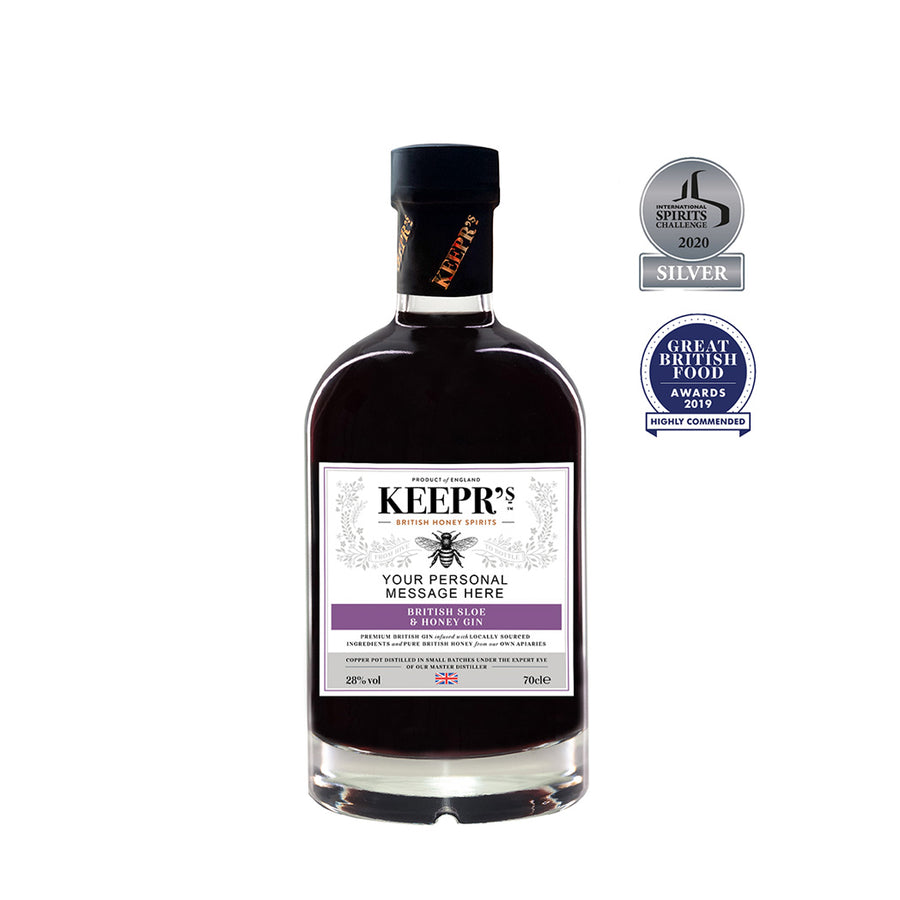 BRITISH SLOE & HONEY GIN - SPIRIT DRINK  28%VOL (PERSONALISED)