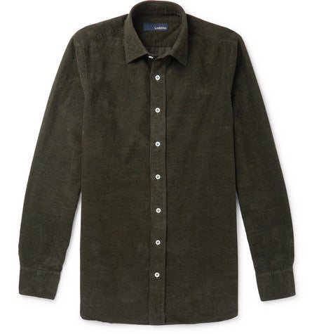 Slim fit cotton corduroy shirt