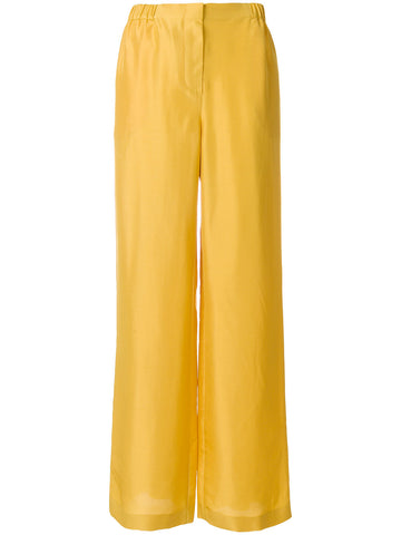 High waist silk flared trousers