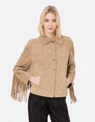 Suede jacket with fringing