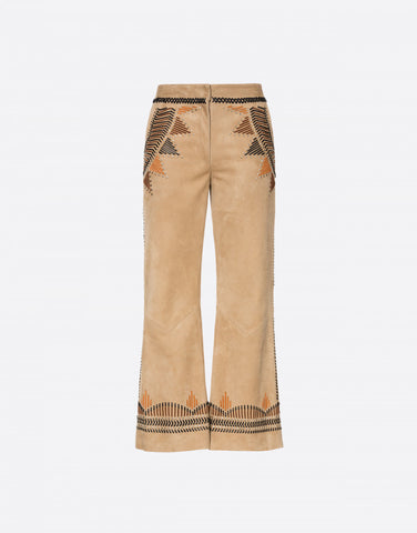 Suede pants with intarsia