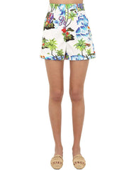 White floral printed shorts