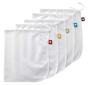 "Break the Plastic Bag Habit with Flip & Tumble Mesh Produce Bags, 11""x14"", White"