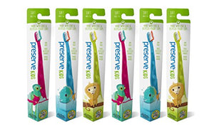 Kids' Toothbrushes Made From Recycled Plastic, Preserve Toothbrushes, 6-count