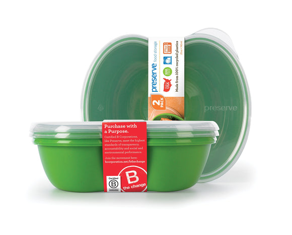 Preserve Square Food Storage Container Made from Recycled Plastic, 25 Ounce Capacity, Set of Two, Apple Green
