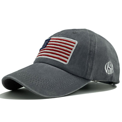 American flag USA embroidery baseball cap men and women washed cotton caps