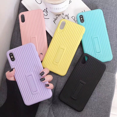 Macaron TPU Car Shell Candy Color Phone Case Candy Ribbon Stand Phone Case