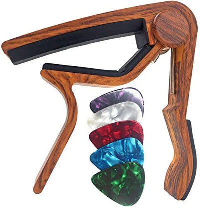 WINGO Guitar Capo for Acoustic and Electric Guitars - Rosewood with 6 Picks