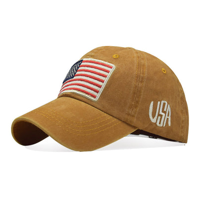 Old washed letters baseball cap American flag embroidery baseball cap