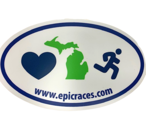 Heart MI Run decal