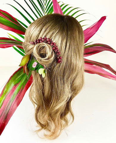Blonde European human hair wig put in a bun