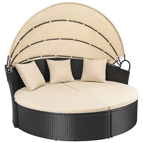 Homall Outdoor Wicker Patio Round Daybed With Retractable Canopy