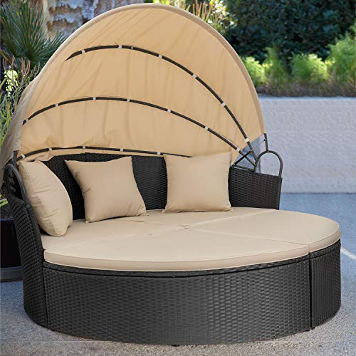 Homall Outdoor Wicker Patio Round Daybed with Retractable Canopy ...
