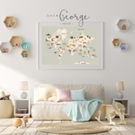 Lola & George Animals of the World Map - Wall Art Decor A2