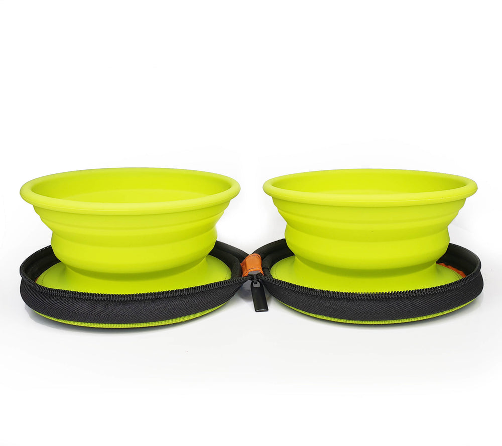 BORK Zip-up Double Travel Bowls for Dogs & Cats