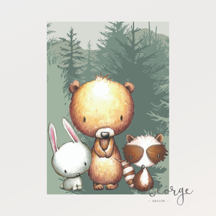 Lola & George Forest Friends Trilogy Set - Wall Art Decor A2