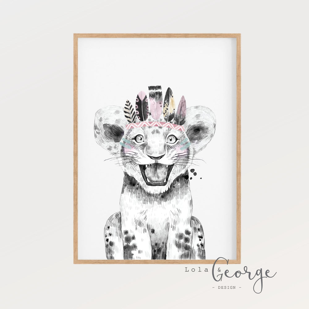 Lola & George Leah Lion - Wall Art Decor A3
