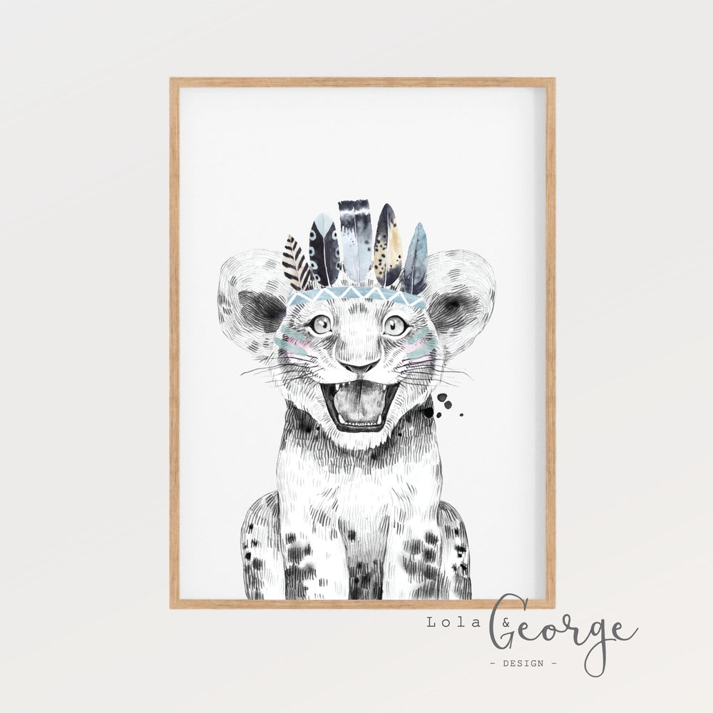 Lola & George Leo Lion - Wall Art Decor A3