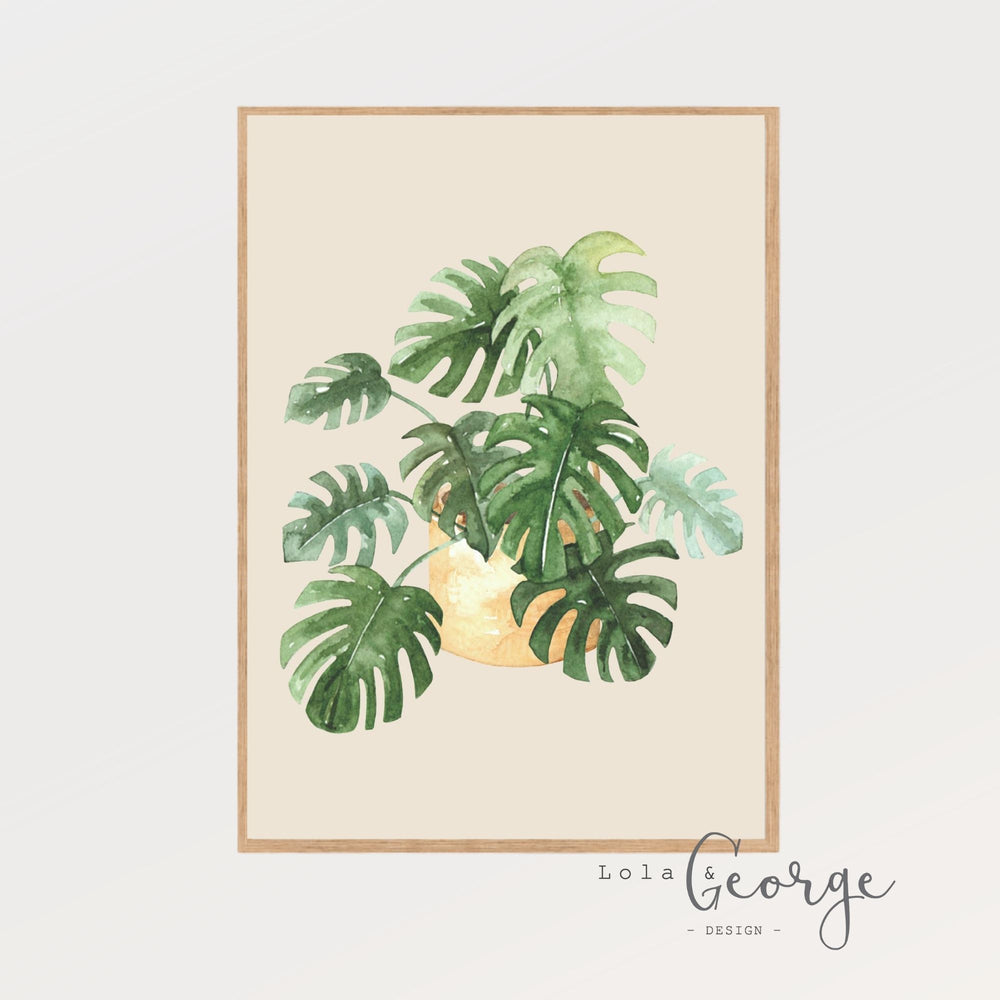 Lola & George Monstera Print - Wall Art Decor A3