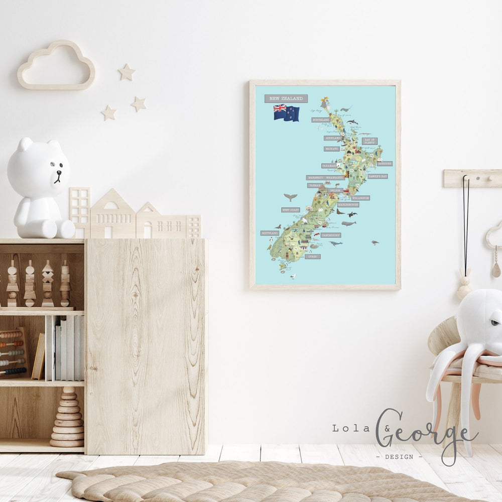 Lola & George NZ Map (Oh the Places You could Go) - Wall Art Decor A2