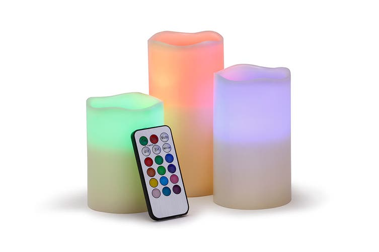 Flameless Electronic Candle LED with RBG Remote Control - Set of 3