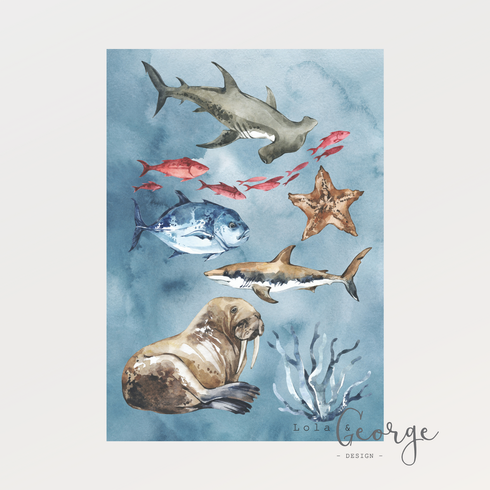 Lola & George Underwater Trilogy Set - Wall Art Decor A3