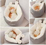 Pet Bed with Thick Cushion Padding & Bunny Ears (for cats & small dogs)