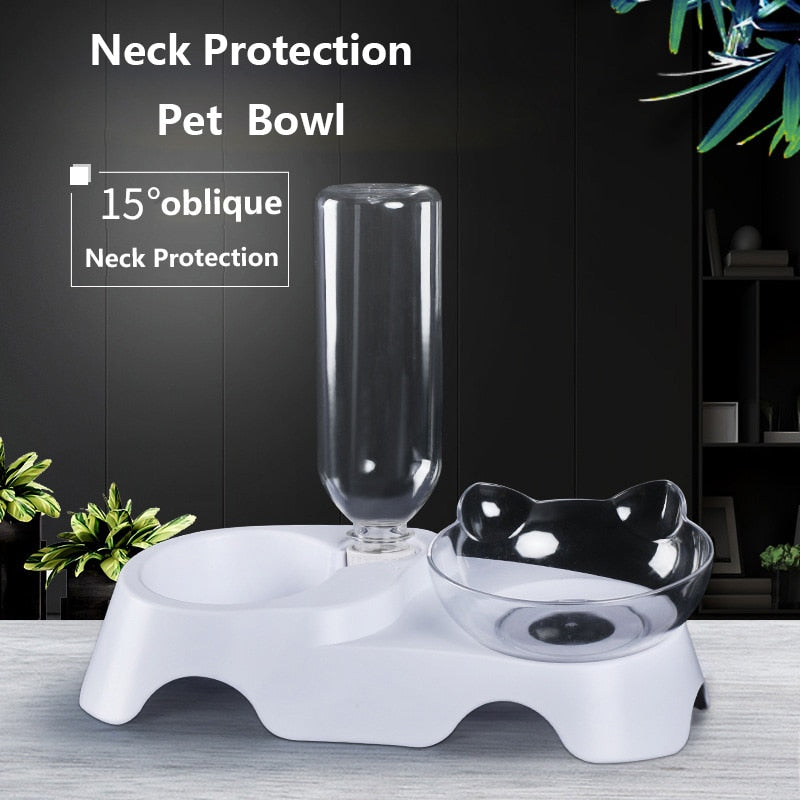 2 In 1 Cat Ears Elevated Shaped Feeding Bowl and Drinking Fountain for Cats