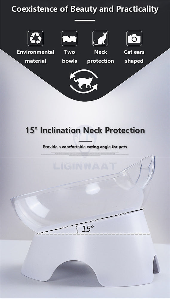 Cat Ear Shaped Feeding Bowl (double) - elevated for neck protection