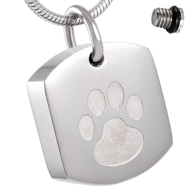 Paw Print Pet Ash Urn Pendant Necklace Memorial (Keepsake Jewellery)