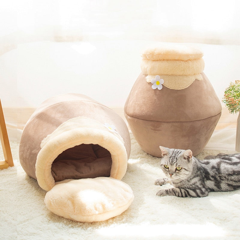 3-in-1 Pet Bed for Cats & Dogs - Soft Foldable Pet Sofa, Honey Jar & Cave