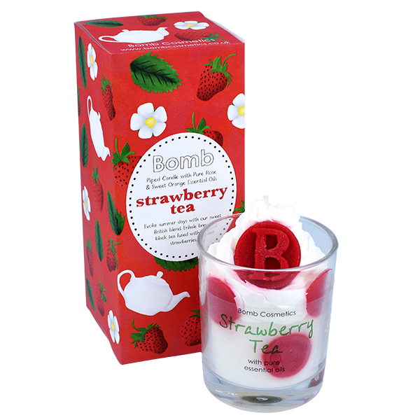 Bomb Cosmetics - Piped Glass Candles 'Strawberry Tea' (Cruelty Free & Vegan)