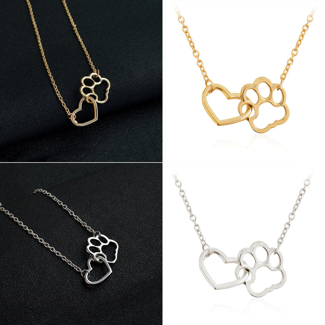 Hollow paw print and heart shaped pendant and sweater necklace