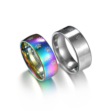 Dog paw rainbow anime  ring / wedding band