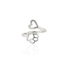 Love Heart Adjustable Dog Paw Ring