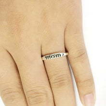 Silver Letter Print Mom Ring